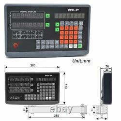2Axis/3Axis DRO Display Digital Readout+2/3PCS Linear Glass Scale Mill Lathe Kit