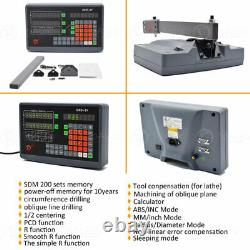 2Axis DRO Digital Readout + 250+600mm Linear Glass Scale 5µm for Bridgeport Mill