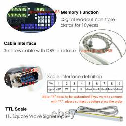 2Axis DRO Digital Readout TTL Linear Glass Scale Encoder 5µm 450&850mm Milling