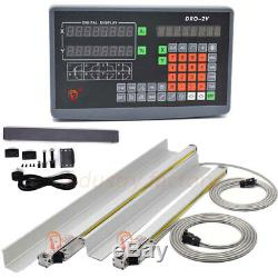 2Axis Digital Readout DRO +2pc TTL Linear Scale Bridgeport Milling Position Tool