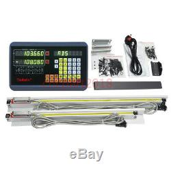 2Axis Digital Readout Kit DRO Display+2pc Linear Glass Scale Mill Lathe Machine