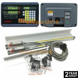 2Axis Dro Digital Readout 400&850MM Linear Scale Encoder 5µm for Mill Machine