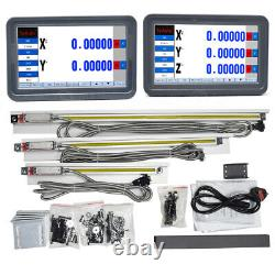 2/3Axis Mill Dro Digital Readout LCD Display Touch Screen+Linear Glass Scale Kit