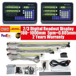 2 3 Axis Digital Readout Display DRO TTL 5m Linear Scale CNC Mill Lathe Machine