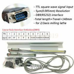 2 Axis Digital Readout 5µm 0.0002 Scale DRO READOUT MILLING LATHES Encoder