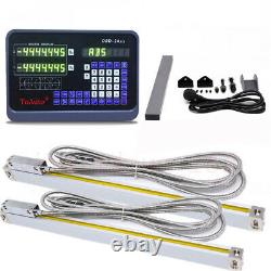 2 Axis Digital Readout DRO Display+14&28 TTL Linear Scale Encoder Mill Lathe