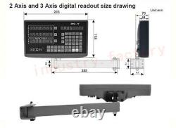 2 Axis Digital Readout DRO Encoder 5m Linear Glass Scale 500 & 1000mm Kit Mill