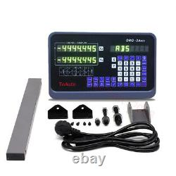 2 Axis Digital Readout DRO Kit 650&800mm 5µm Linear Glass Scale Lathe Milling