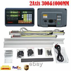 2pc Linear Scale Glass Encoder+2Axis Digital Readout DRO Display Kit Knee Mill