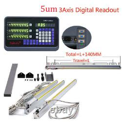 3Axis 6 & 12 &20 Display Digital ReadOut DRO Linear Scale 5um TTL CNC Milling