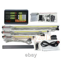 3Axis Digital Readout & 3pc TTL Linear Glass Scale DRO Display Kit Milling Lathe