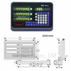 3Axis Digital Readout DRO Display 5µm Linear Scale 450+650+900mm Kit Lathe Mill