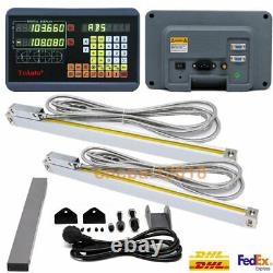 Digital Readout DRO Display+2pc Linear Glass Scale 2Axis Kit Mill Lathe Machine