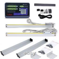 For Mill Lathe Digital Readout 2Axis DRO Display +2pcs Linear Scale Encoder Kit