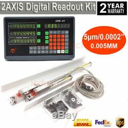Mill Lathe 2Axis Digtial Readout DRO Display 5µm Precision Linear Scale Sensor