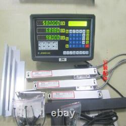 Precision 2Axis 5µm Digital Readout DRO Display+2pc Linear Scale Mill Lathe Kit