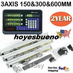 Set 6 12 24-3Axis Digital Readout DRO Display+3pc Linear Scale Mill Lathe US
